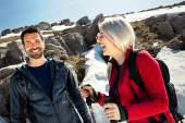 Pair of hikers having fun in mountain — Stock Photo
