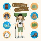 Backpacker character Icon set vector — Stock Vector
