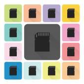 Memory card Icon color set vector illustration — Stock Vector