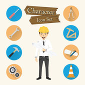 Engineer character Icon set vector  — Vector de stock