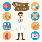 Doctor character Icon set vector — Stock Vector