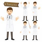 Doctor character set vector illustration — Stockvector