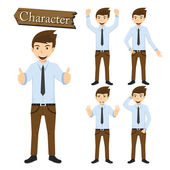 Businessman character set vector illustration — Stock Vector