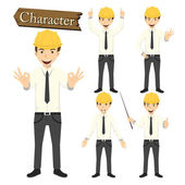 Engineer character set vector illustration — Stock Vector