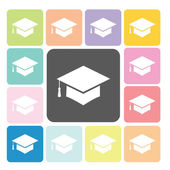 Graduation cap Icon color set vector illustration — Stock Vector