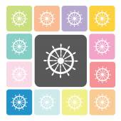 Rudder Icon color set vector illustration — Stock Vector