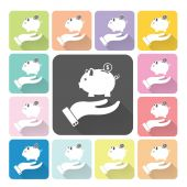 Hand holding piggy Icon color set vector illustration — Stock Vector