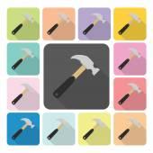 Hammer Icon color set vector illustration — Stock Vector