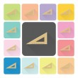 Triangle ruler Icon color set vector illustration — Stock Vector #58254639