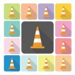 Traffic cone Icon color set vector illustration — Stock Vector #58259617