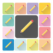 Pencil Icon color set vector illustration — Stock Vector
