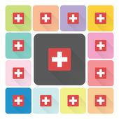 Medische teken pictogram kleur instellen vectorillustratie — Stockvector