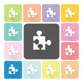 Jigsaw Icon color set vector illustration — Stock Vector