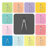 Compass Icon color set vector illustration — Stock Vector