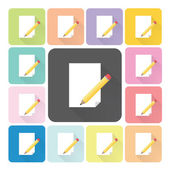 Writing paper Icon color set vector illustration — Stock Vector