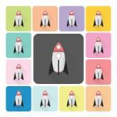 Rocket Icon color set vector illustration — Stock Vector