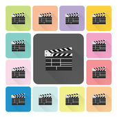 Clapboard Icon color set vector illustration — Stock Vector