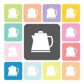 Tea maker Icon color set vector illustration — Stock Vector