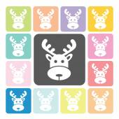 Deer Icon color set vector illustration — Stock Vector