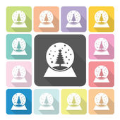 Spherical snow globe Icon color set vector illustration — Stock Vector