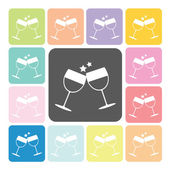 Two glasses Icon color set vector illustration — ストックベクタ