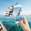 Taking photo of snorkeling divers jump in the water. — Stock Photo #73158691