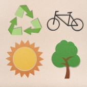 Environmental conservation icons in world o paper background — Stock Photo