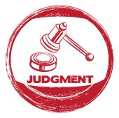 Red sign for judgement — Stockvector