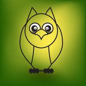 Green owl icon — Stock Vector
