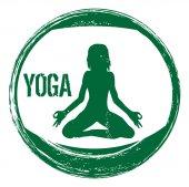 Grunge yoga stamp — Vector de stock