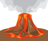 Exploding volcano on white — Stock Vector