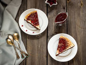 Cheesecake with cherry sauce in vintage style  — Stock Photo