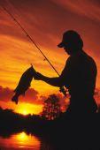 Bass Angler Silhouette — Stock Photo