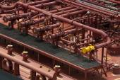 Pipes on tanker ship — Stock Photo