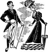 Victorian Couple Courting — Stock vektor