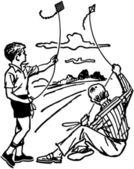 Boys Flying Kites — Stock Vector