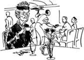 Old Lady Drinking Tea — Stock Vector