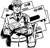 Postman Delivering Mail — Stock Vector
