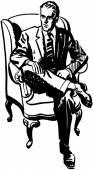 Man Sitting In Armchair — Stock Vector