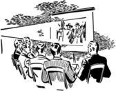Men Watching Movie — Stock Vector