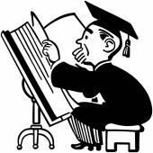 Grad Studying Big Book — Stock Vector
