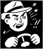 Angry Driver at wheel — Stock Vector