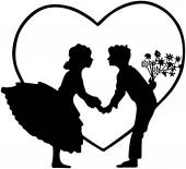 Lovers In Heart Silhouette — Stock Vector