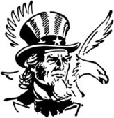 Uncle Sam With Eagle — Stock Vector