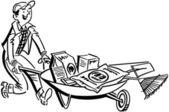 Man With Gardening Supplies — Stock Vector