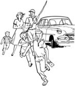 Family Fishing Trip — Stock Vector