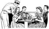 The Gang At The Malt Shop — Stok Vektör