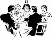 Two Couples Dining — Vecteur