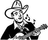 Cowboy Playing Guitar — Stock Vector