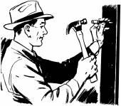 Man Hammering Nail — Stock Vector